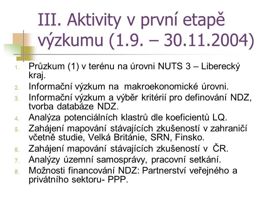 III. Aktivity v první etapě výzkumu (1.9. – 30.11.2004)