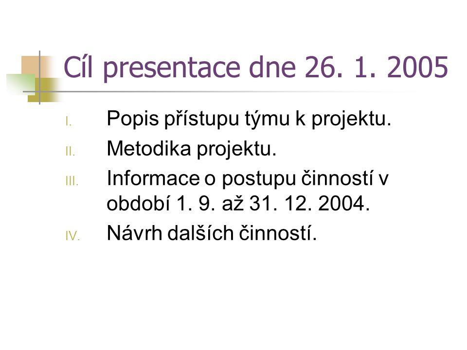 Cíl presentace dne 26. 1. 2005 Popis přístupu týmu k projektu.
