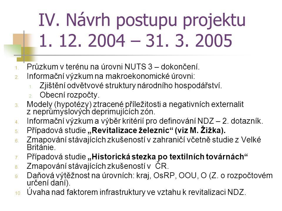 IV. Návrh postupu projektu 1. 12. 2004 – 31. 3. 2005