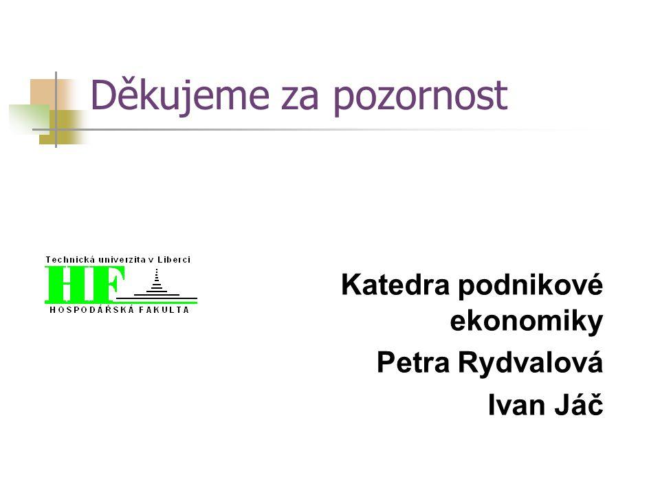 Děkujeme za pozornost Katedra podnikové ekonomiky Petra Rydvalová