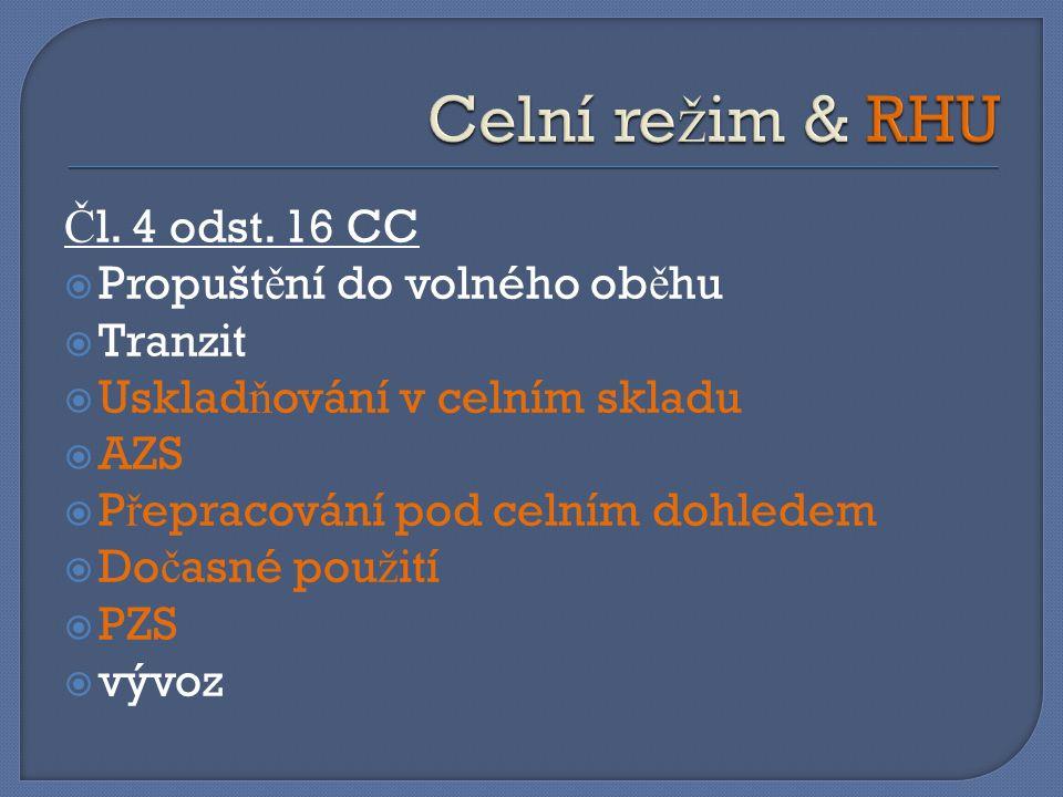 Celní režim & RHU Čl. 4 odst. 16 CC Propuštění do volného oběhu