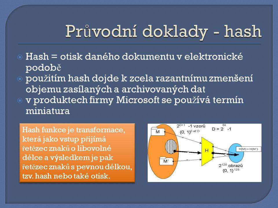 Průvodní doklady - hash