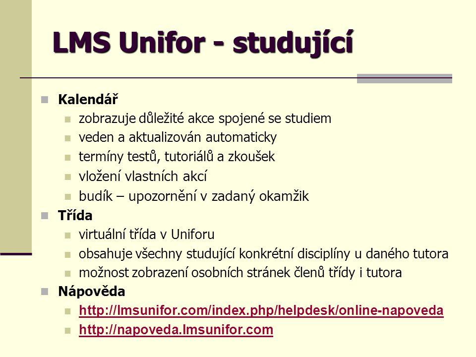 LMS Unifor - studující vložení vlastních akcí