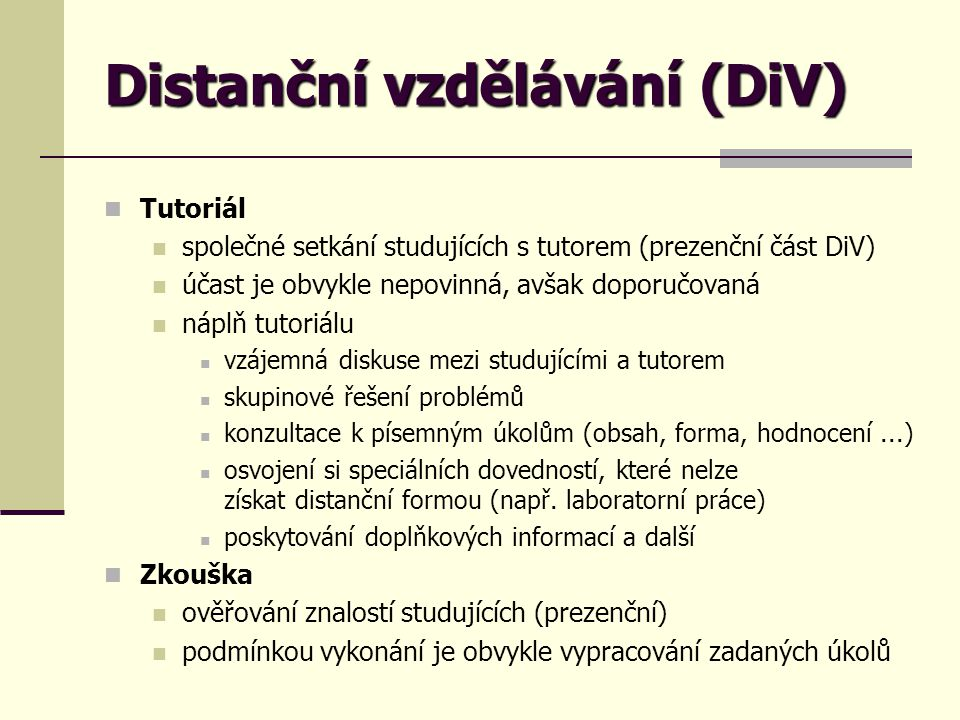 Distanční vzdělávání (DiV)