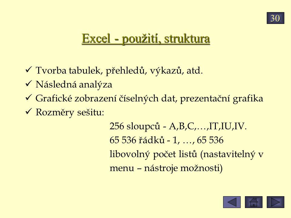 Excel - použití, struktura