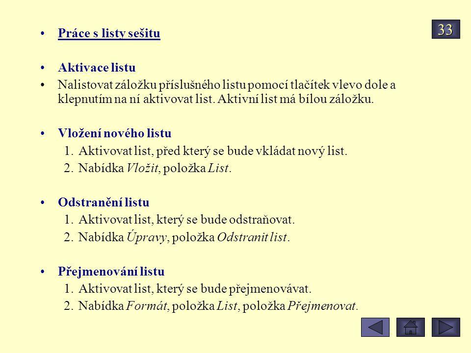 33 Práce s listy sešitu Aktivace listu