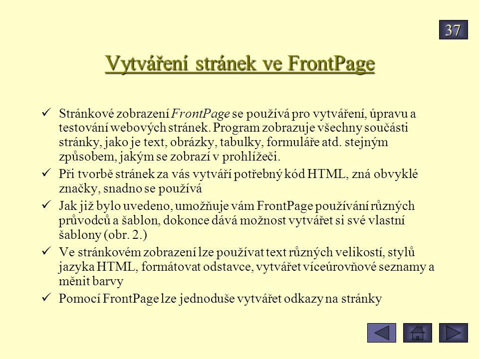 Vytváření stránek ve FrontPage