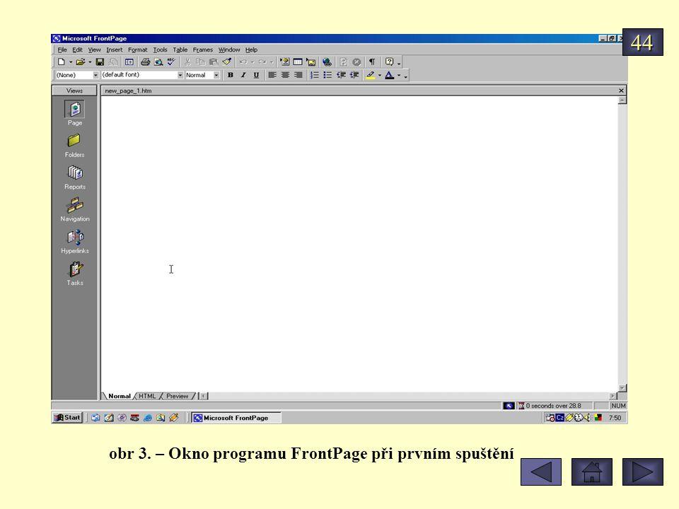 44 obr 3. – Okno programu FrontPage při prvním spuštění