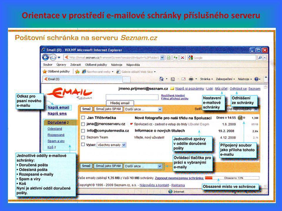 Orientace v prostředí e-mailové schránky příslušného serveru