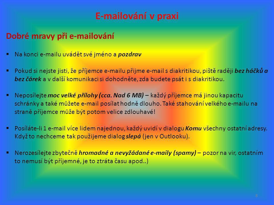 E-mailování v praxi Dobré mravy při e-mailování
