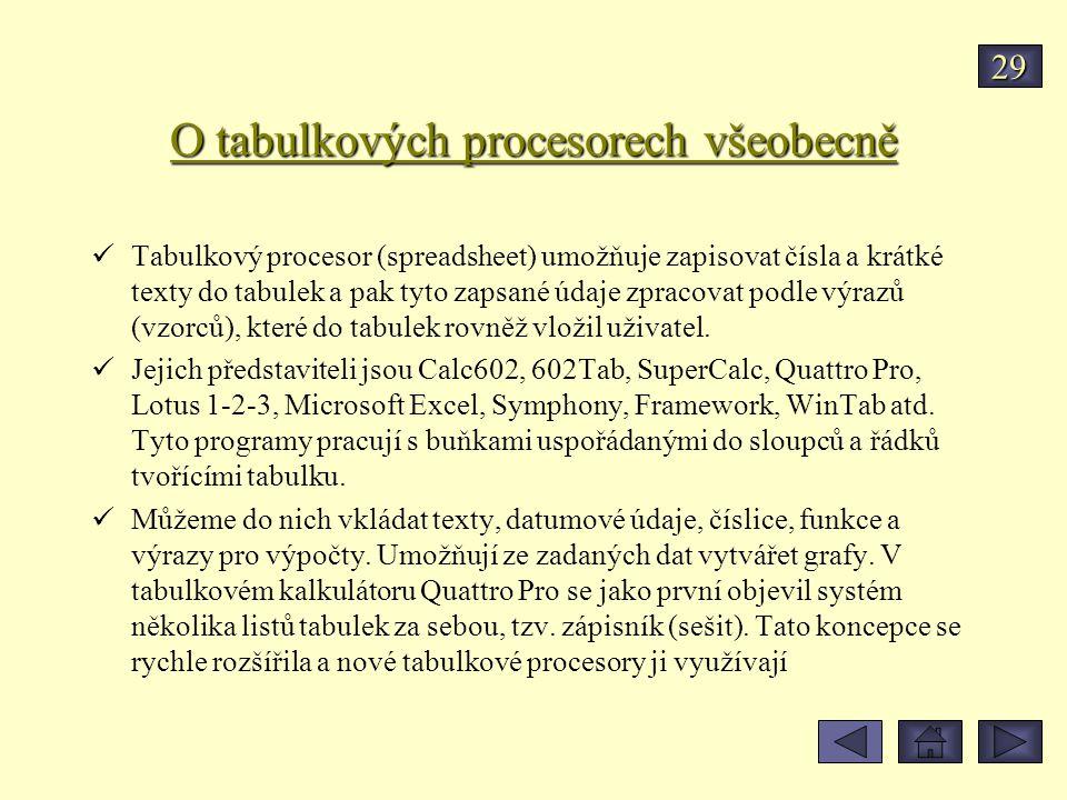 O tabulkových procesorech všeobecně