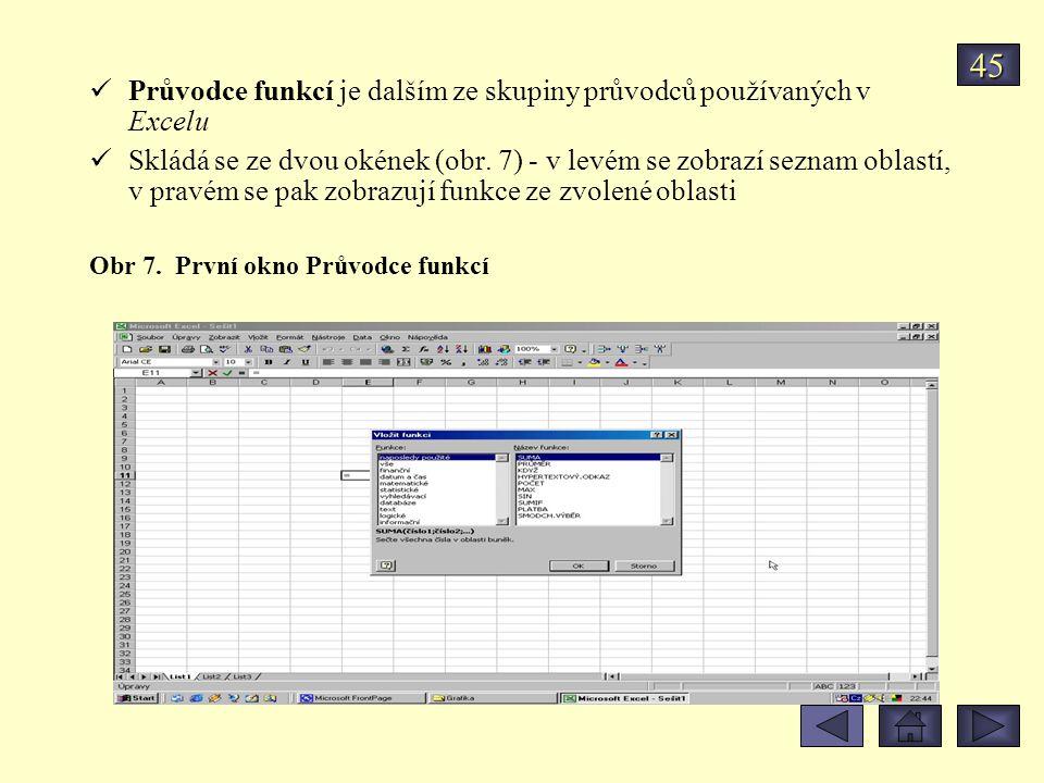 45 Průvodce funkcí je dalším ze skupiny průvodců používaných v Excelu