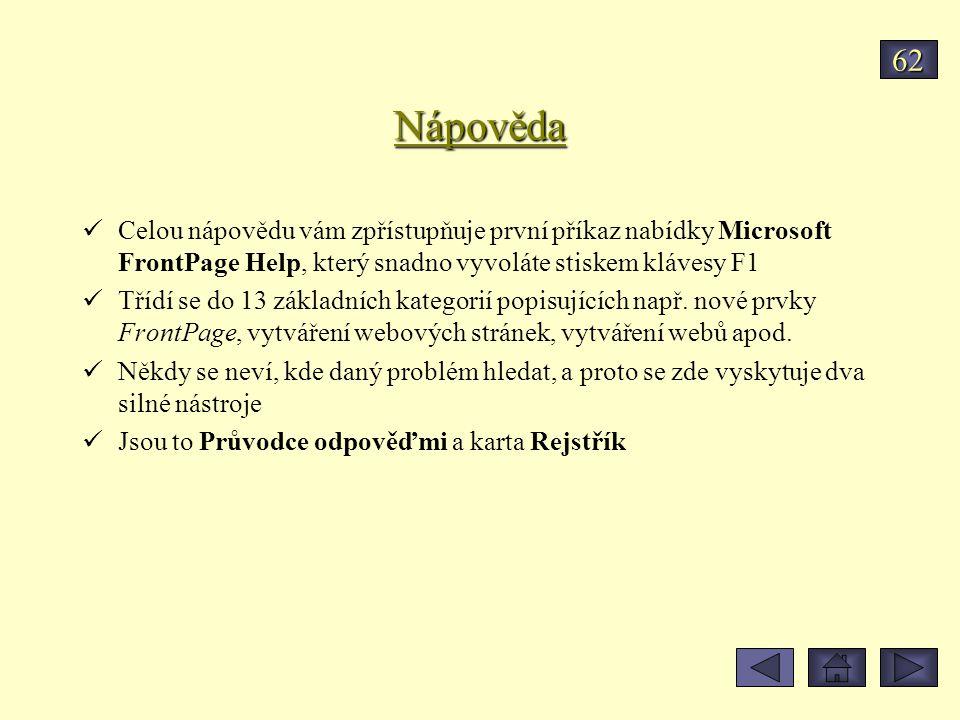 62 Nápověda. Celou nápovědu vám zpřístupňuje první příkaz nabídky Microsoft FrontPage Help, který snadno vyvoláte stiskem klávesy F1.