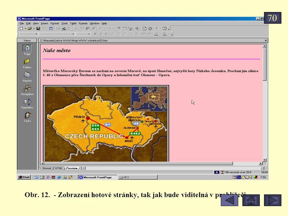 70 Obr. 12. - Zobrazení hotové stránky, tak jak bude viditelná v prohlížeči