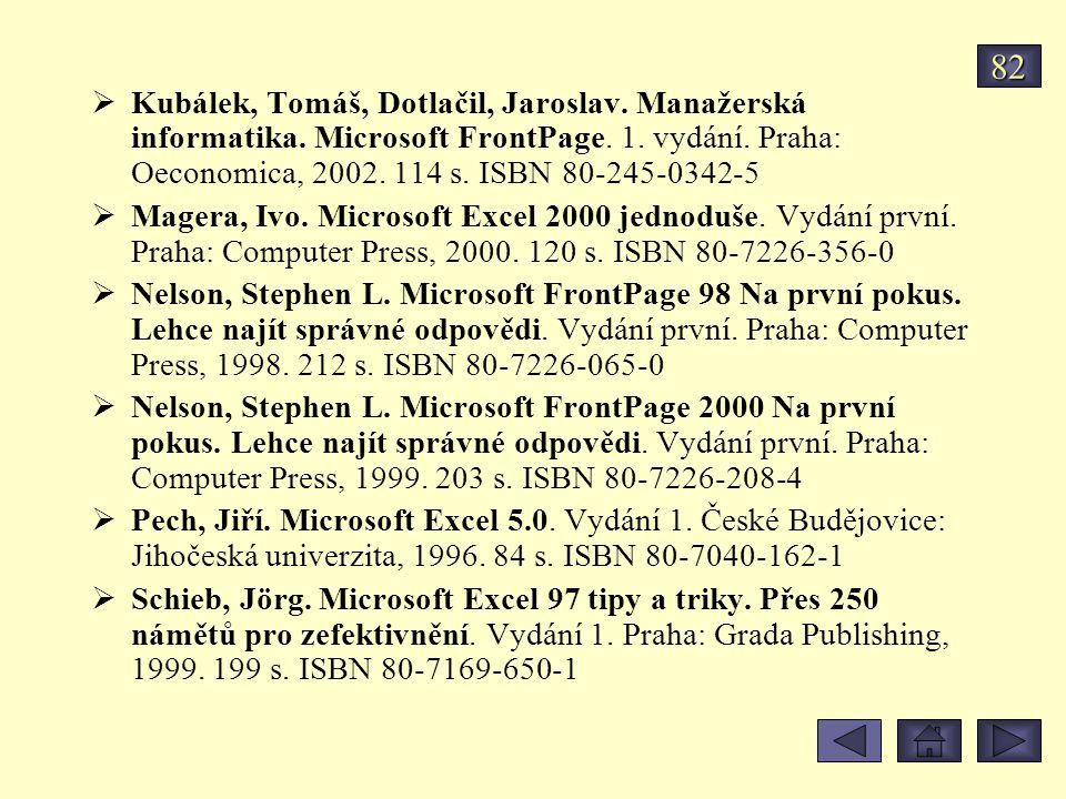 82 Kubálek, Tomáš, Dotlačil, Jaroslav. Manažerská informatika. Microsoft FrontPage. 1. vydání. Praha: Oeconomica, 2002. 114 s. ISBN 80-245-0342-5.
