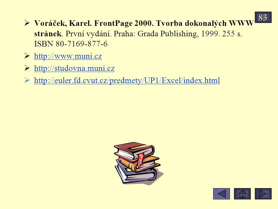 83 Voráček, Karel. FrontPage 2000. Tvorba dokonalých WWW stránek. První vydání. Praha: Grada Publishing, 1999. 255 s. ISBN 80-7169-877-6.