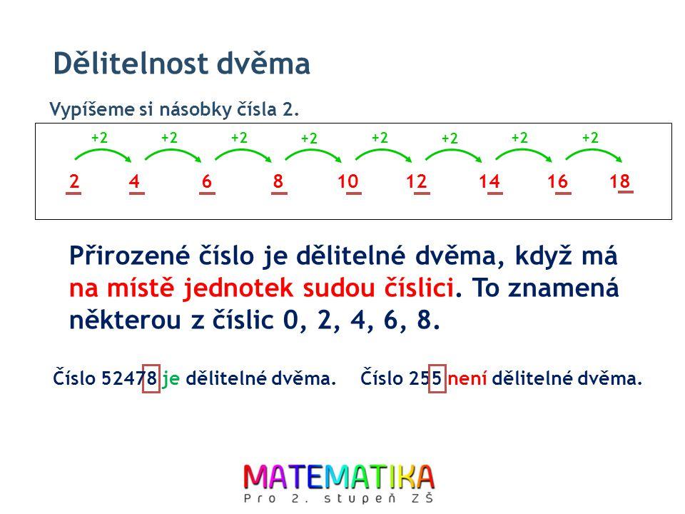 Dělitelnost dvěma Vypíšeme si násobky čísla 2. +2. +2. +2. +2. +2. +2. +2. +2. 2. 4. 6. 8.