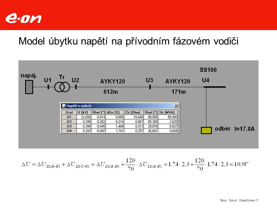 Model úbytku napětí na přívodním fázovém vodiči