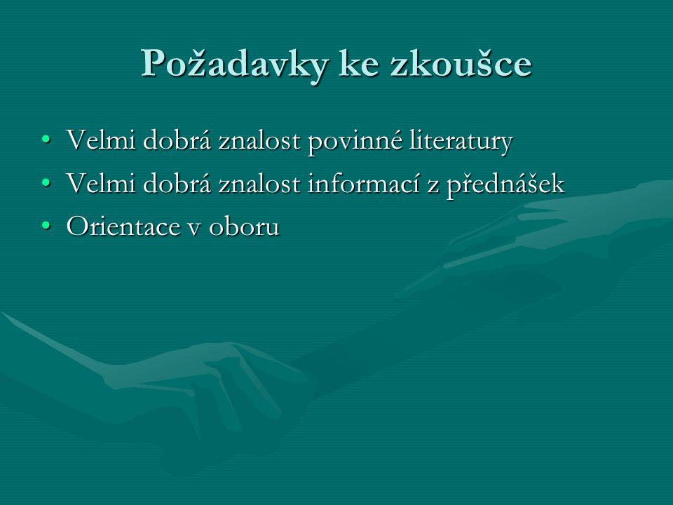 Požadavky ke zkoušce Velmi dobrá znalost povinné literatury