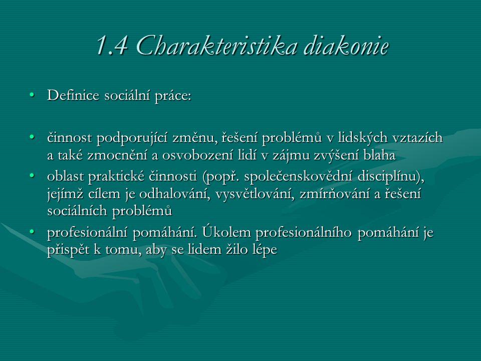 1.4 Charakteristika diakonie
