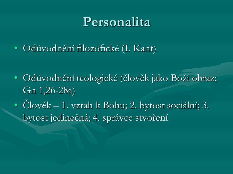 Personalita Odůvodnění filozofické (I. Kant)