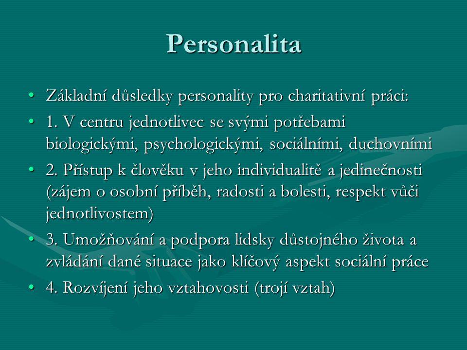 Personalita Základní důsledky personality pro charitativní práci: