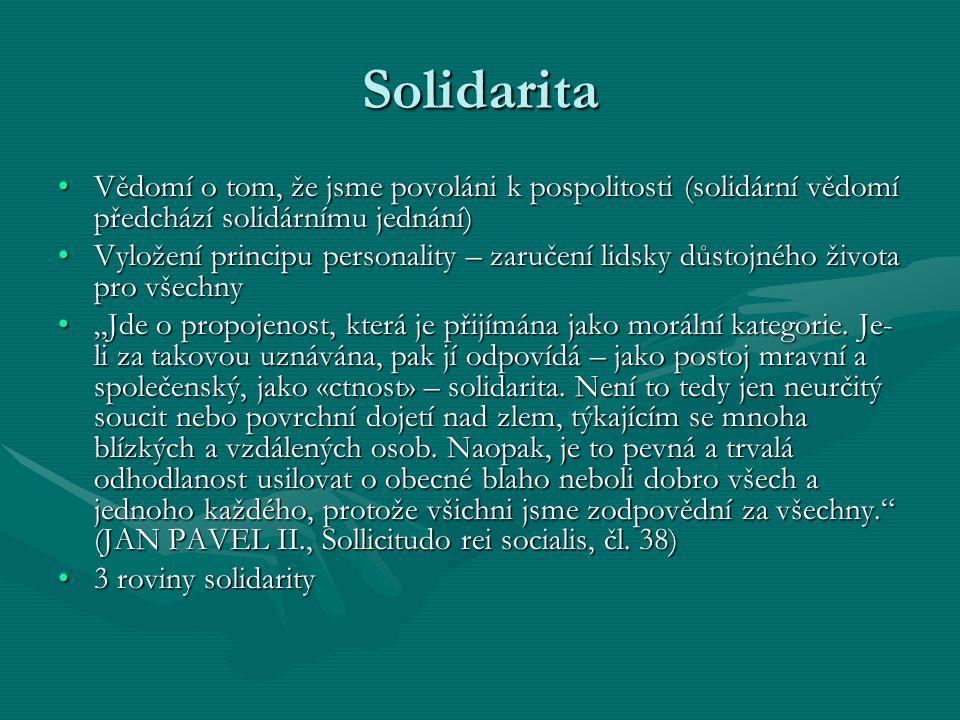 Solidarita Vědomí o tom, že jsme povoláni k pospolitosti (solidární vědomí předchází solidárnímu jednání)