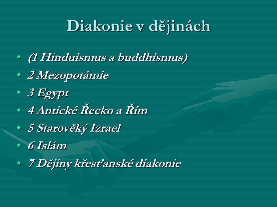 Diakonie v dějinách (1 Hinduismus a buddhismus) 2 Mezopotámie 3 Egypt