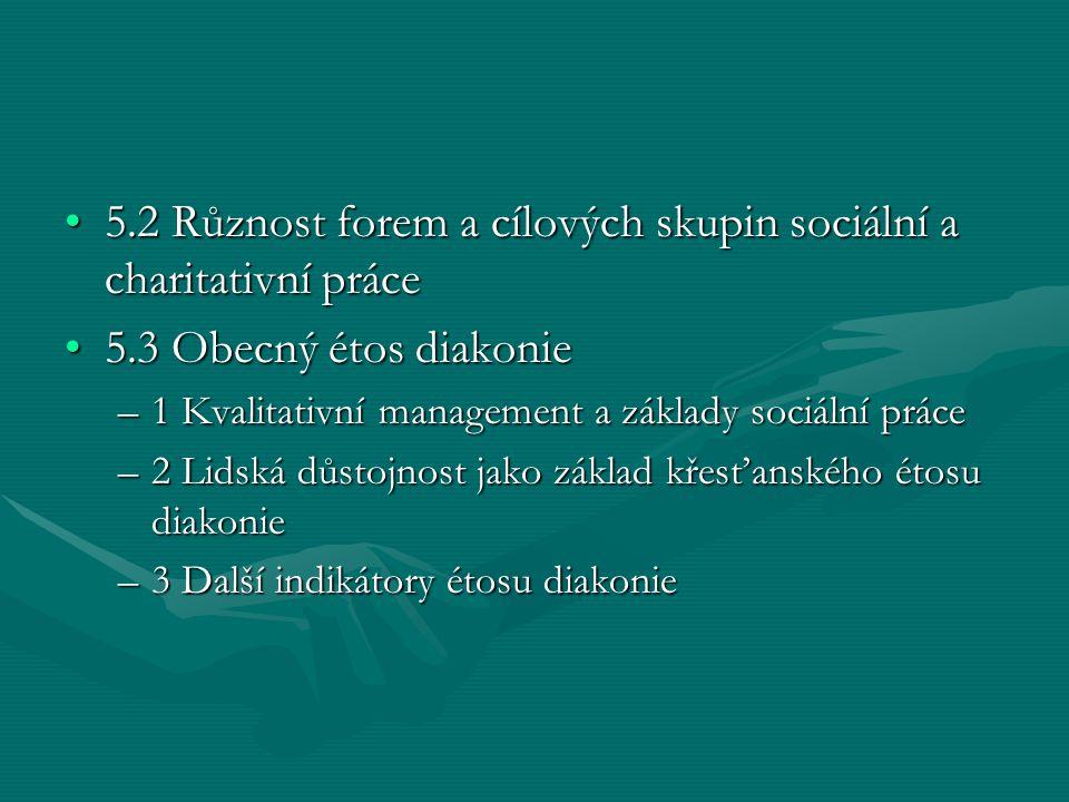 5.2 Různost forem a cílových skupin sociální a charitativní práce