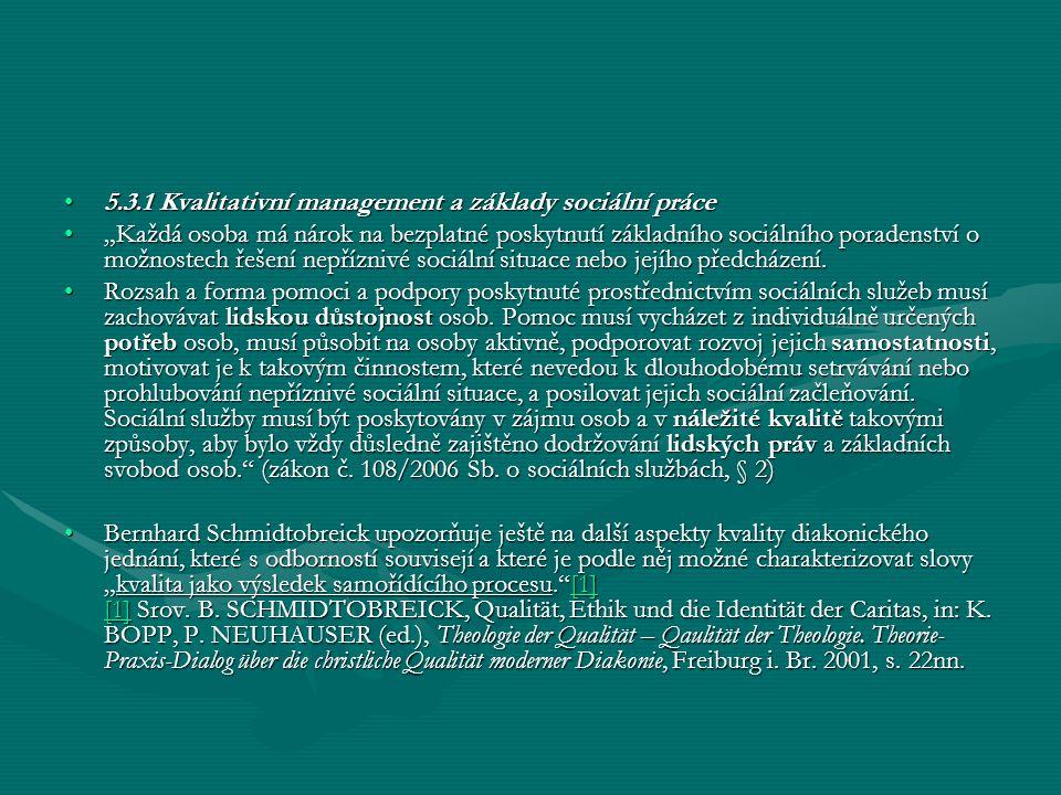 5.3.1 Kvalitativní management a základy sociální práce