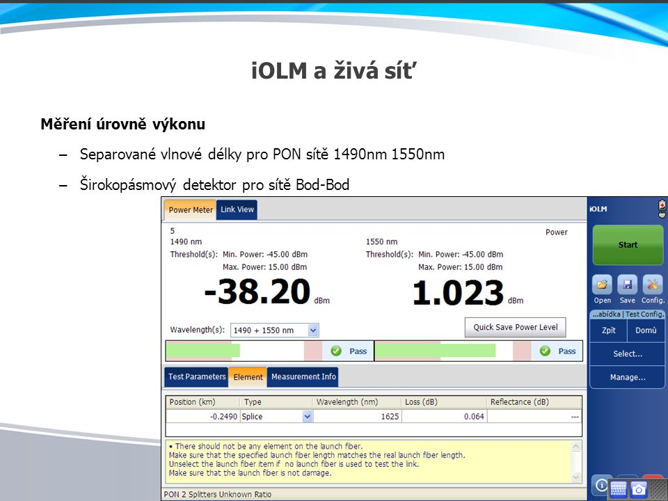 iOLM a živá síť Měření úrovně výkonu
