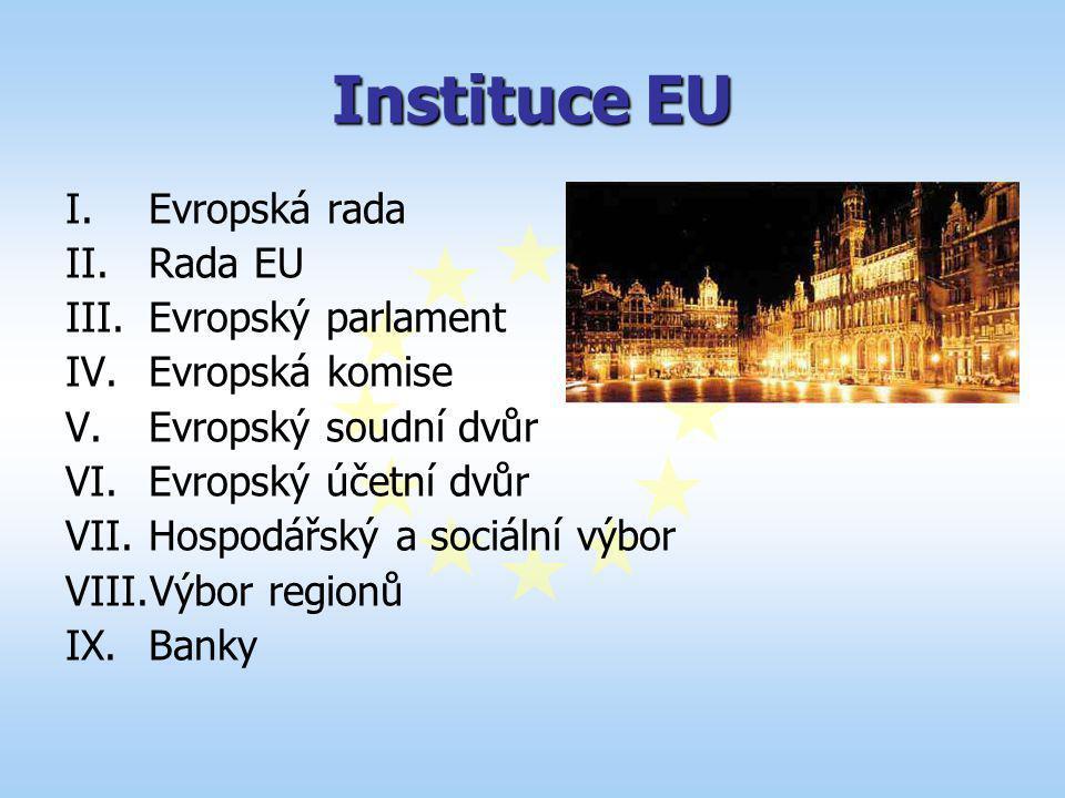 Instituce EU Evropská rada Rada EU Evropský parlament Evropská komise