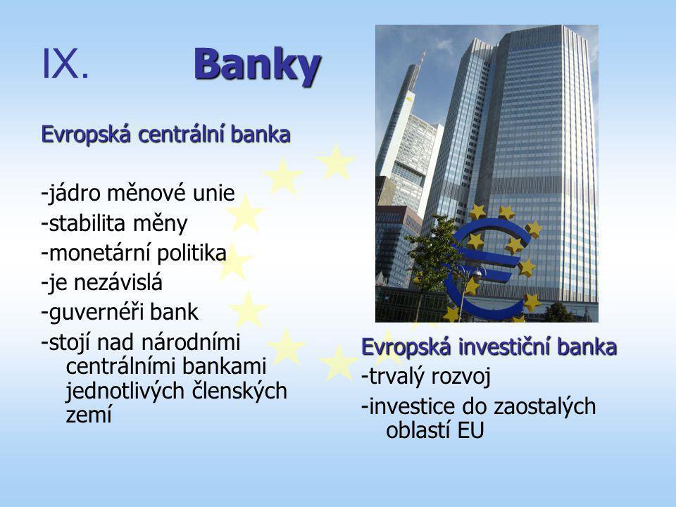Banky Evropská centrální banka -jádro měnové unie -stabilita měny
