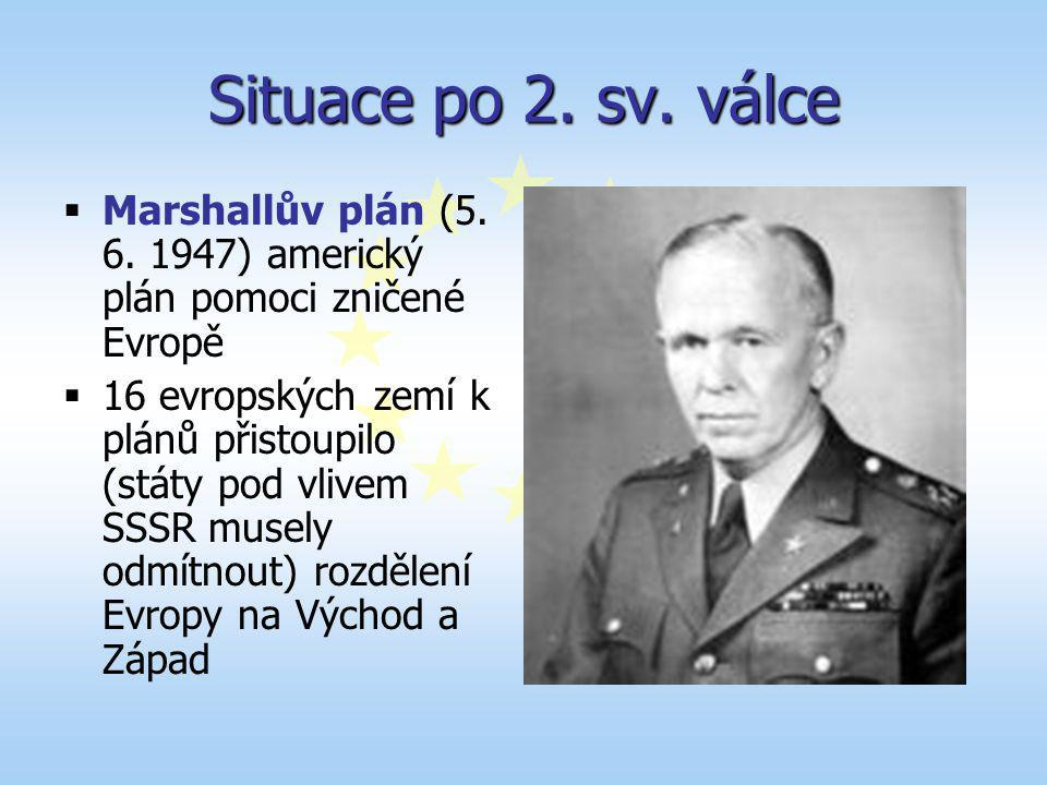 Situace po 2. sv. válce Marshallův plán (5. 6. 1947) americký plán pomoci zničené Evropě.