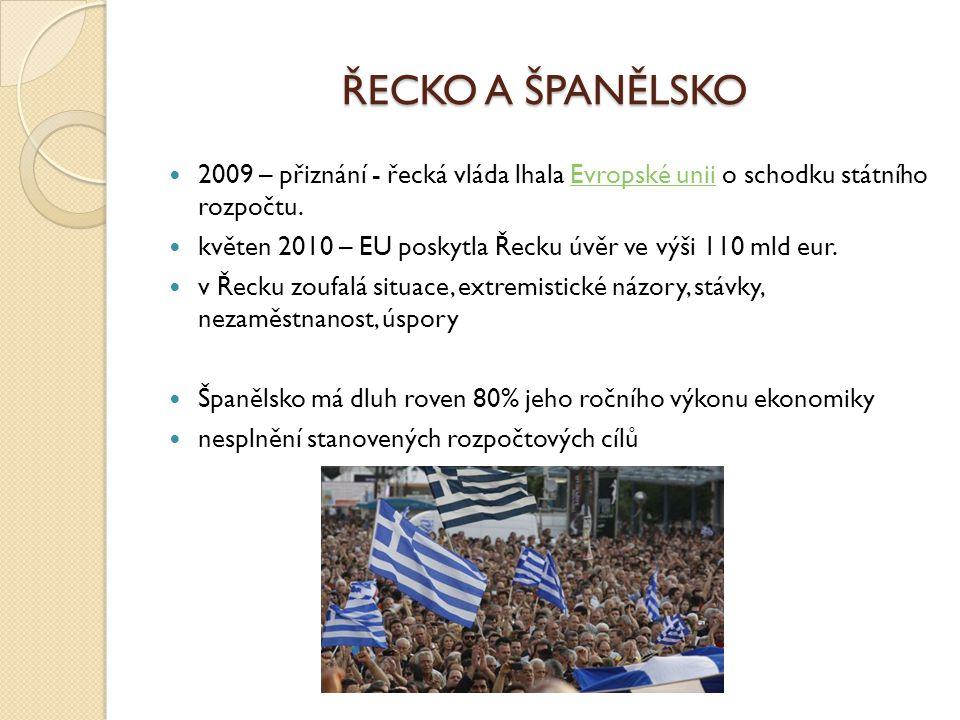 ŘECKO A ŠPANĚLSKO 2009 – přiznání - řecká vláda lhala Evropské unii o schodku státního rozpočtu.