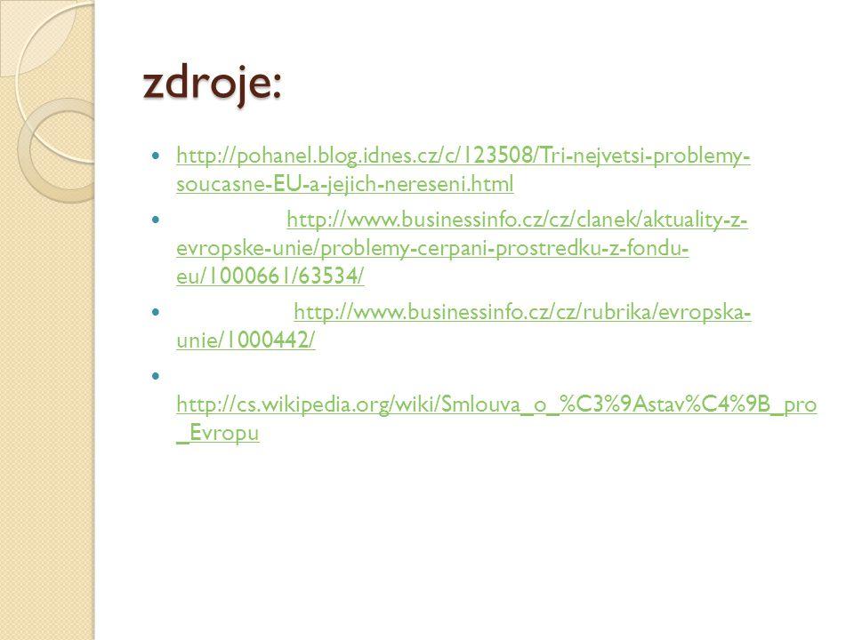 zdroje: http://pohanel.blog.idnes.cz/c/123508/Tri-nejvetsi-problemy- soucasne-EU-a-jejich-nereseni.html.