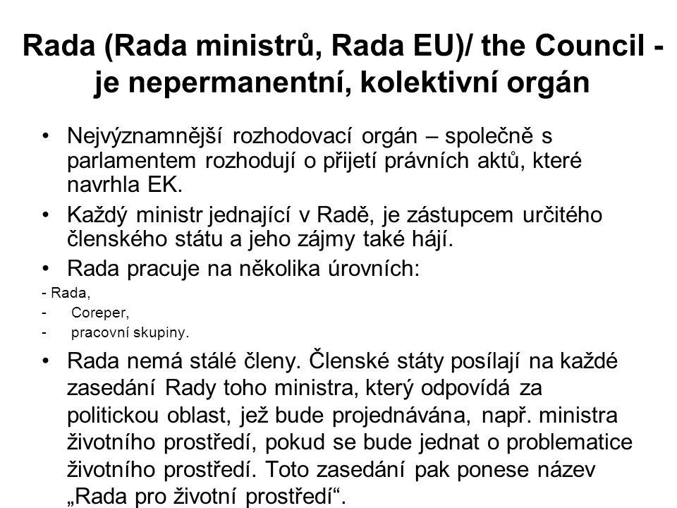 Rada (Rada ministrů, Rada EU)/ the Council - je nepermanentní, kolektivní orgán