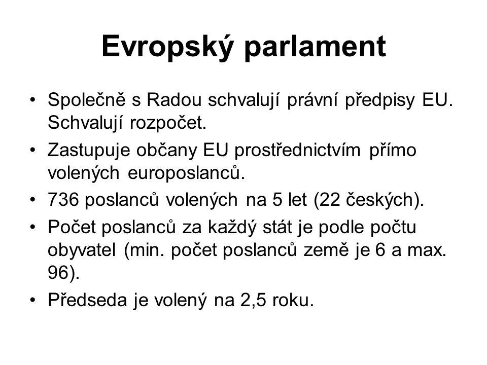 Evropský parlament Společně s Radou schvalují právní předpisy EU. Schvalují rozpočet.
