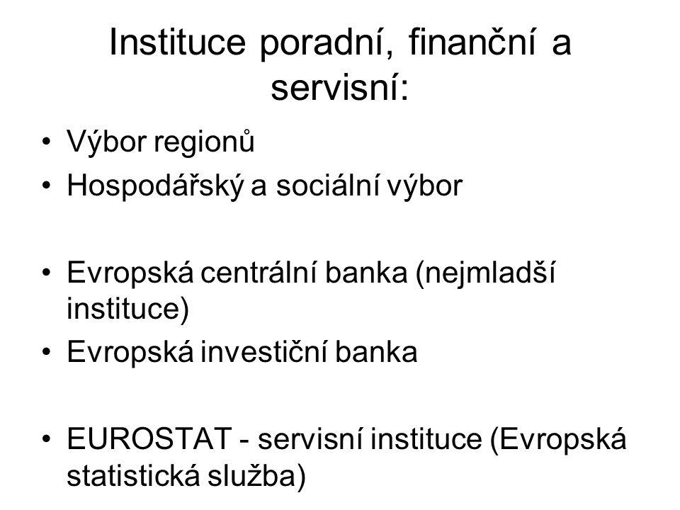 Instituce poradní, finanční a servisní:
