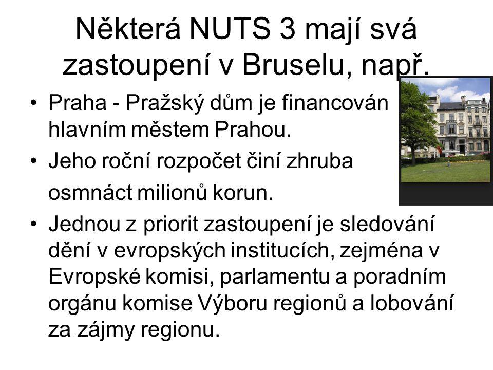 Některá NUTS 3 mají svá zastoupení v Bruselu, např.