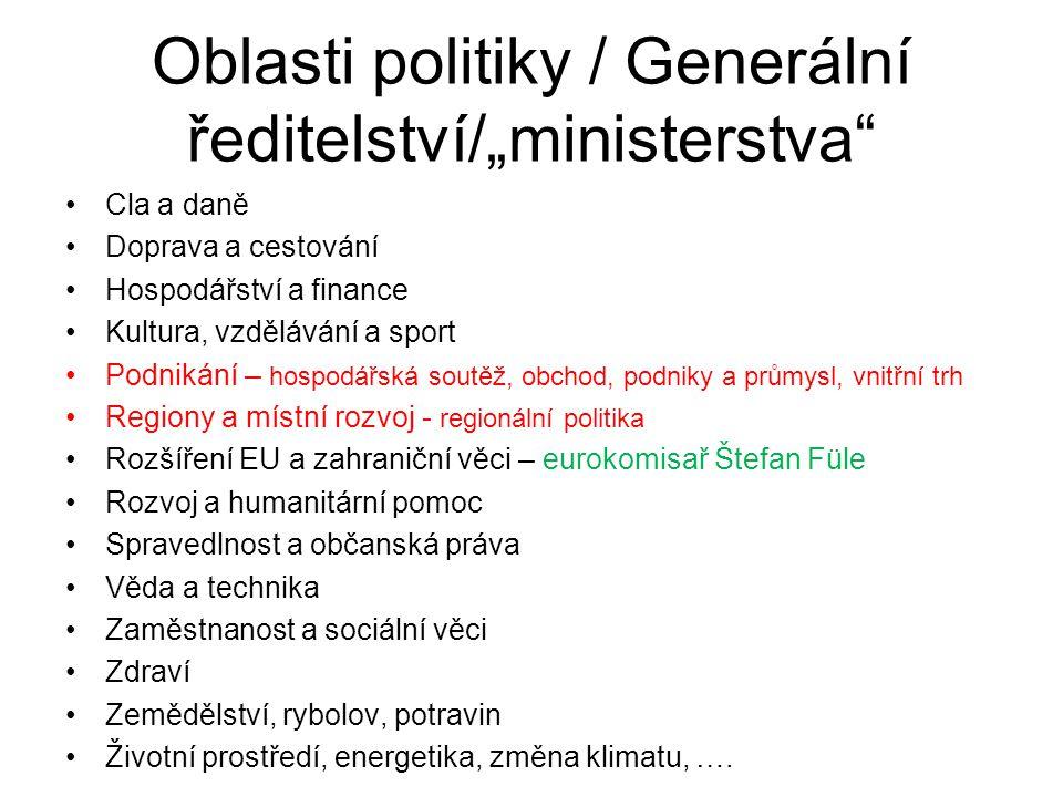 """Oblasti politiky / Generální ředitelství/""""ministerstva"""