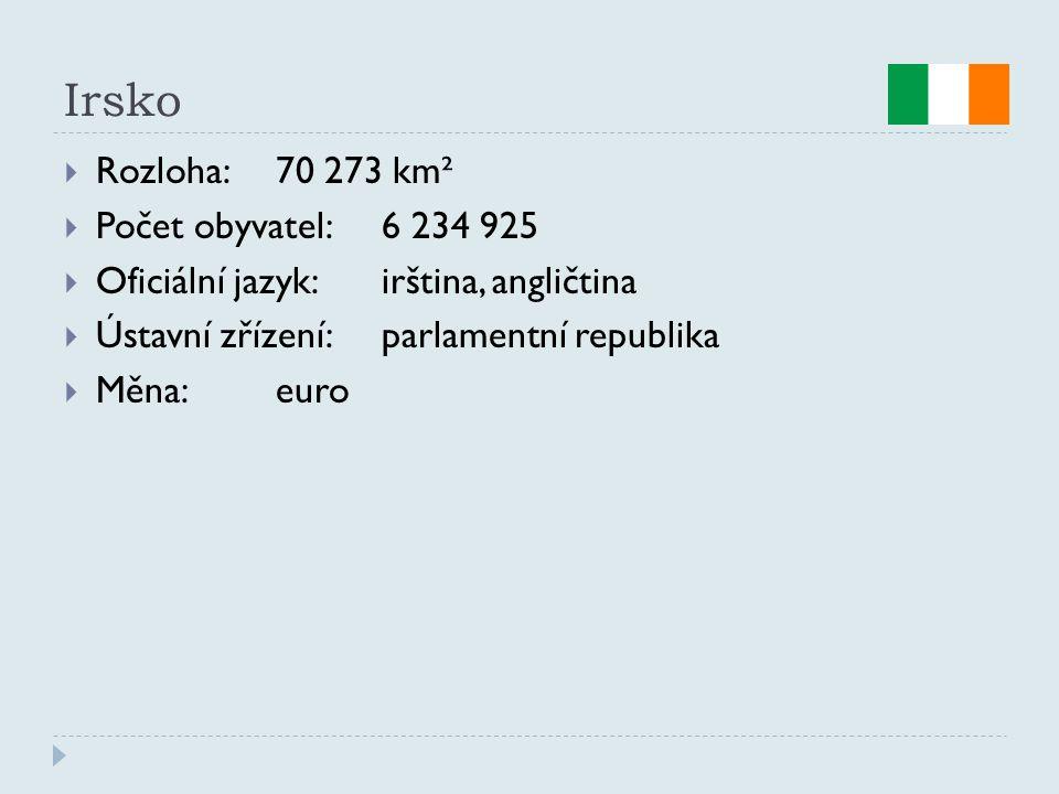 Irsko Rozloha: 70 273 km² Počet obyvatel: 6 234 925