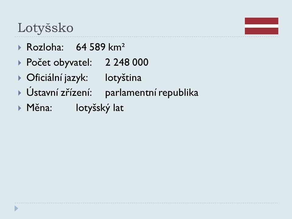 Lotyšsko Rozloha: 64 589 km² Počet obyvatel: 2 248 000