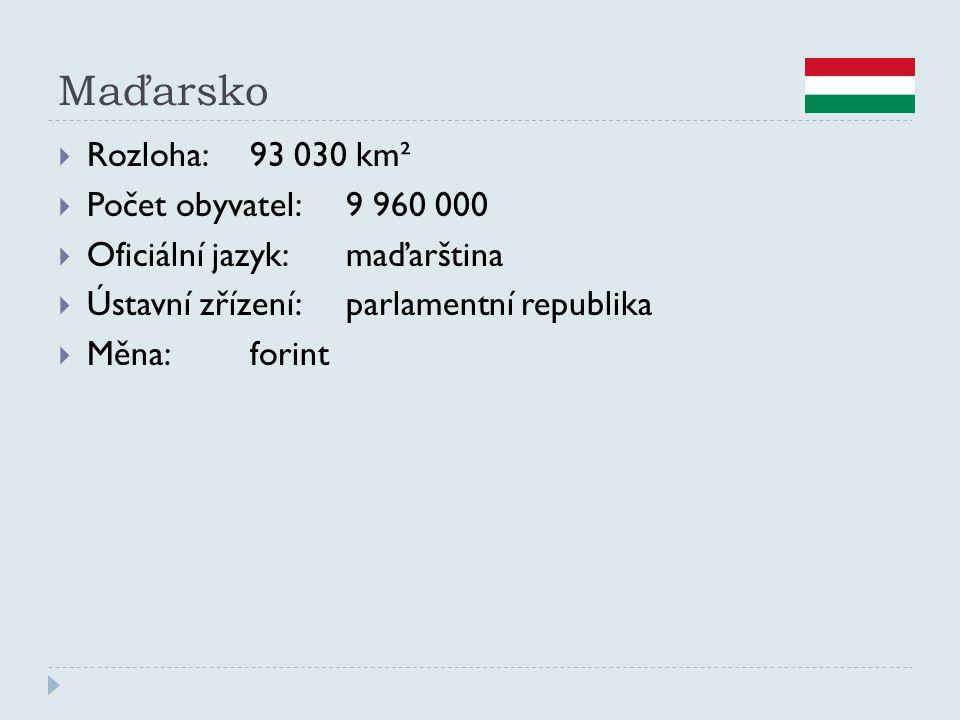 Maďarsko Rozloha: 93 030 km² Počet obyvatel: 9 960 000