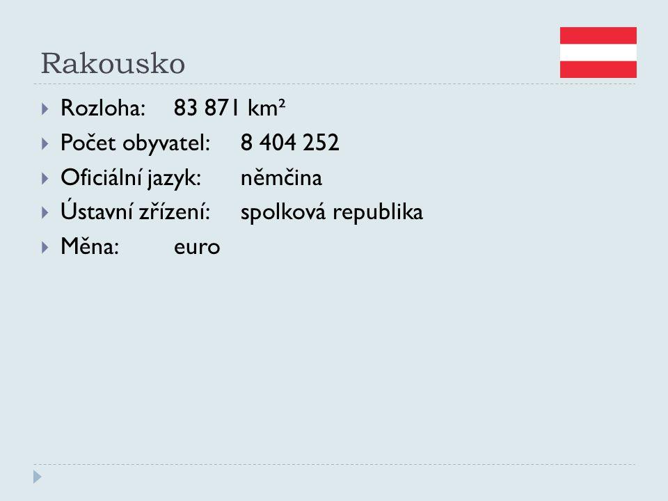 Rakousko Rozloha: 83 871 km² Počet obyvatel: 8 404 252