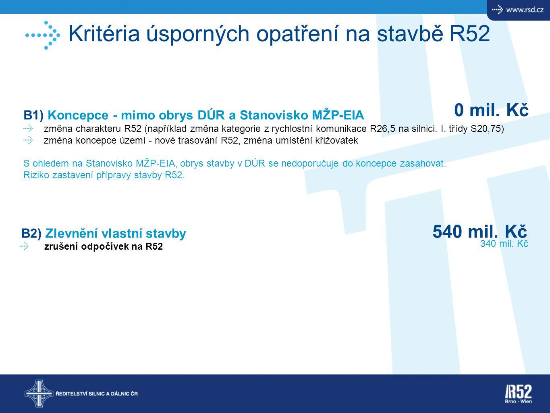 Kritéria úsporných opatření na stavbě R52