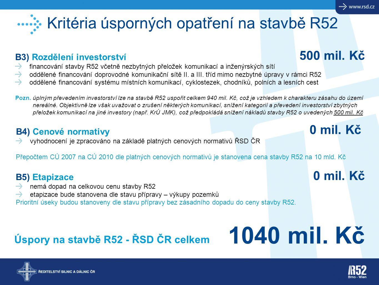 1040 mil. Kč Kritéria úsporných opatření na stavbě R52 500 mil. Kč