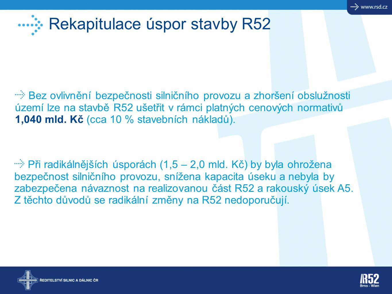 Rekapitulace úspor stavby R52