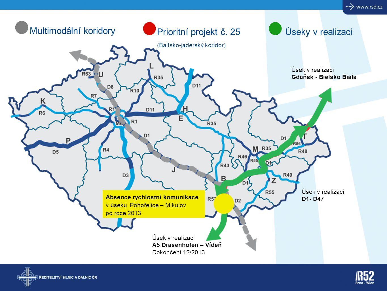 Multimodální koridory Prioritní projekt č. 25 Úseky v realizaci