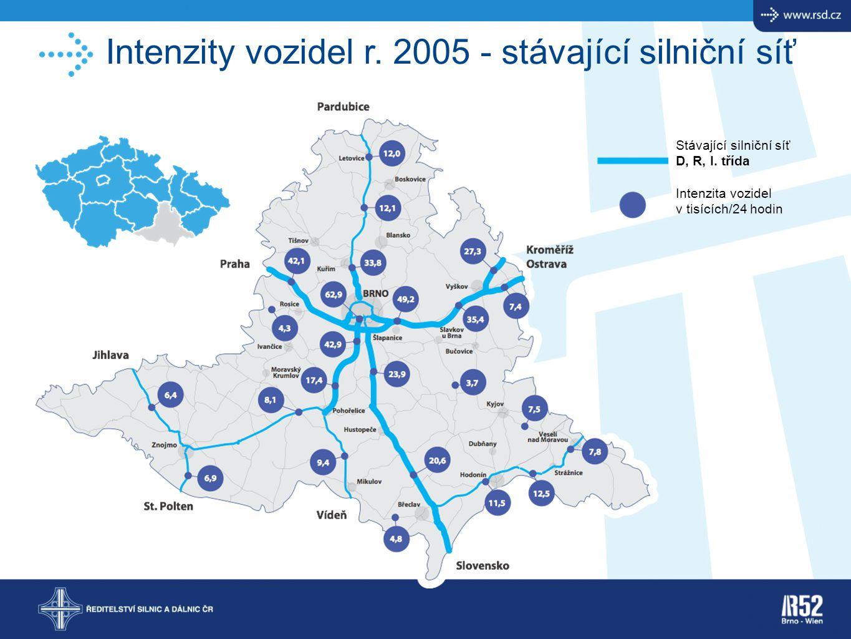 Intenzity vozidel r. 2005 - stávající silniční síť